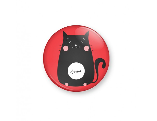 KITTY FISH- Red - Badge