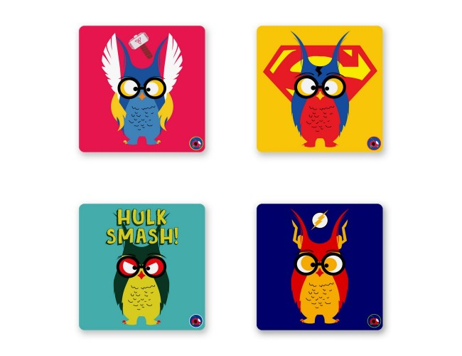SUPER OWLS COASTER SET OF 4